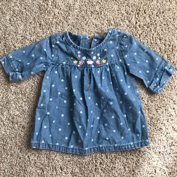 Carter's Other - Carters denim polka dot embroidered top